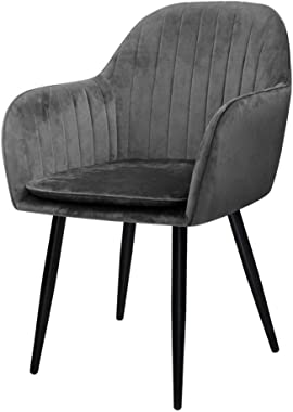Artiss Velvet Dining Chairs with Iron Legs Grey, Set of 2