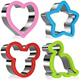 Stainless Steel Sandwich Molds - Dinosaur, Mickey Mouse, Star, Love. Set of 4.