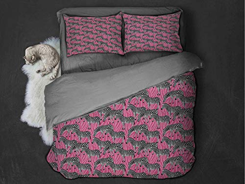 Pink Zebra Comfort Luxurious Softest Premium Bed Sheet Set Zebras Pattern Wild Animal Hippie Indie Stylized Tropical Tones Pastel Anti-wrinkle and anti-fading (Queen) White Black Pink