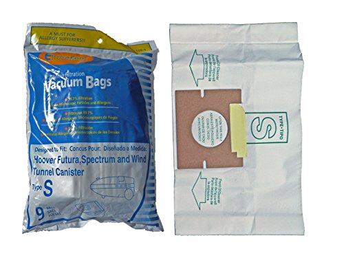1 X Hoover Type S Envirocare Brand Allergen Microlined Vacuum Bags - 9 in a pack
