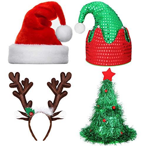 BBTO Juego de 4 Paquetes Gorros de Navidad y Diadema de Reno Incluyes Gorros de Santa, Gorros del rbol de Navidad, Diademas de Reno y Gorros de Duende Navideo para Fiesta de Vacacin de Navidad