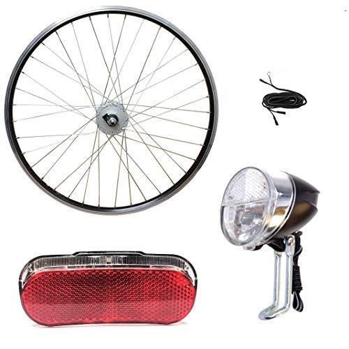 Fahrrad Beleuchtung Set SMART Halogen Vorderlicht AXA LED Rücklicht für Nabendynamo