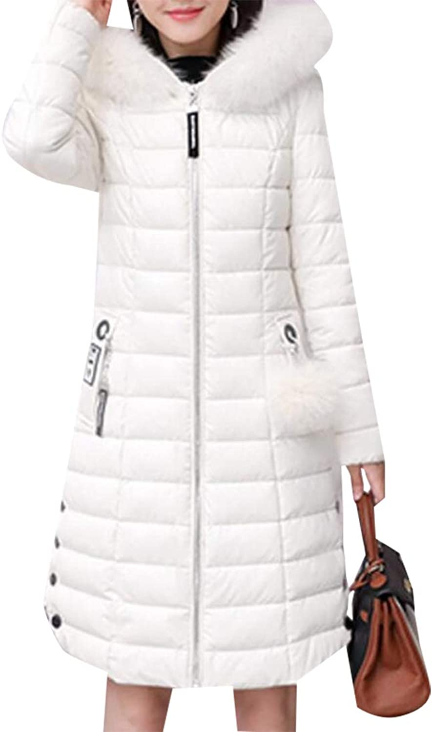 Esast Women's Thicken Hooded Faux Fur Lined Warm Parkas Jacket Coats Outwear