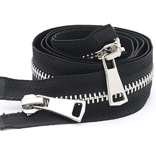 Yener Metalen dubbele schuif Metalen ritsen Eco-vriendelijke open ritssluiting voor het naaien van vachtkleding DIY-accessoires, 8#, 80cm