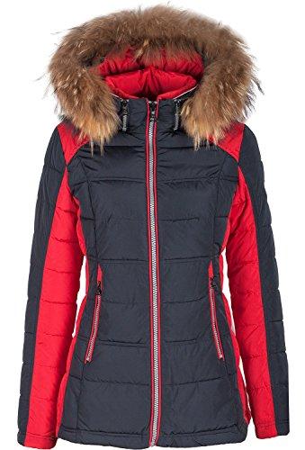 Grimada 5M99M Damen Winterjacke Skijacke in Daunen-Optik TARORE mit Echtfellkapuze (34, blau/rot)