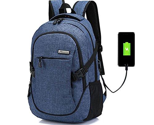 Doingbag Laptop-Rucksack, Business-Look, leicht, wasserfest, zum Wandern, Camping, Outdoor, blau