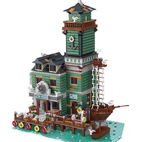 HYZM Arquitectura modelo de bloques de construcción, 2745 piezas, barca de pescador modular antigua, casa, restaurante, arquitectura creativa casas, compatible con Lego
