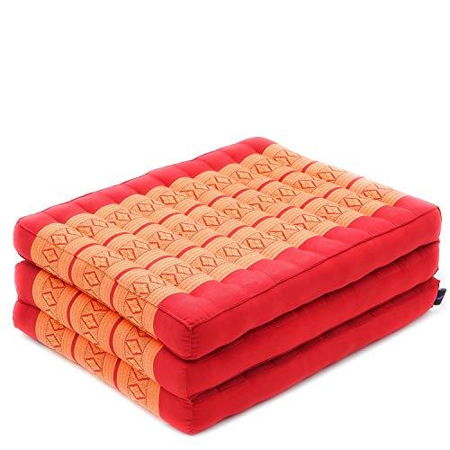 Leewadee futón Plegable S – Colchoneta para Doblar de kapok orgánico Hecha a Mano, colchón de Invitados Grueso para el Suelo, 200 x 50 cm, Naranjo Rojo