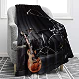 Guitar Drum Set Throw Blanket Soft Comfortable Conditioning Blanket for Sofa Chair Office Bed Kids Adults 50'X60'