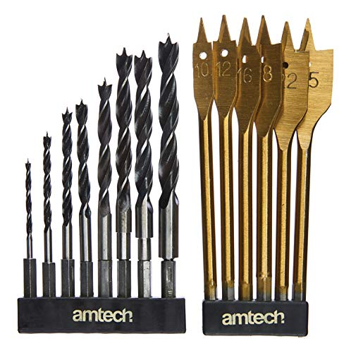 Amtech F1740 Hex Shank Wood Drill Set, 14-Piece