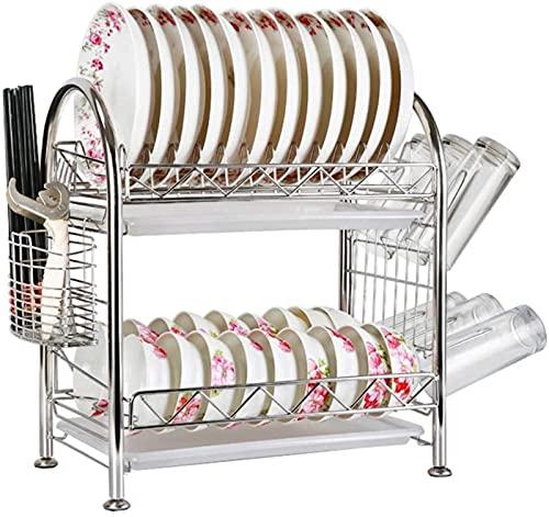 Almacenamiento de cocina, escurridores de platos de 2 niveles, acero inoxidable para cocina, escurridores de platos, estante para platos, soporte para utensilios de cocina con marco compacto y C