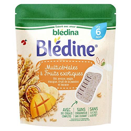 Blédina Blédine Multicéréales & Fruits Exotiques dès 6 mois : Blé, Avoine, Seigle, Mangue, Fruit de la Passion et Banane - 5 sachets de 200g
