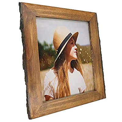 IKEREE 8x10 Picture Frames with Bark Edges, Rustic Wood Photo Frame for Tabletop or Wall Display, Natural Brown