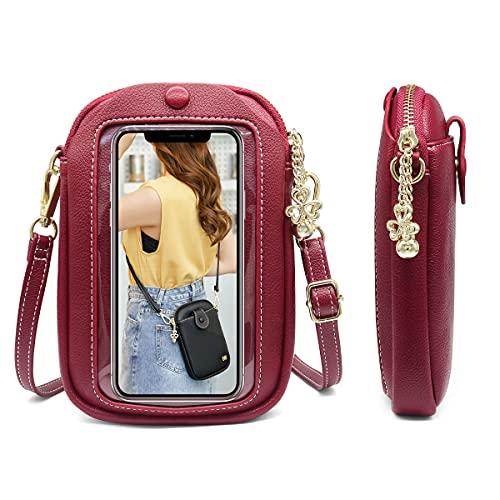 Borsa a Tracolla per Telefono con Touch Screen da Donna,Piccola Borsa per Cellulare,Borsa a Tracolla per Portafoglio da Donna in pelle PU Con Tracolla Regolabile,Leggero Crossbody Bag (Vino rosso)