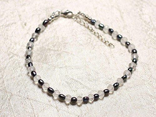 LOVEKUSH Pulsera de plata de ley 925 de 3 a 5 mm, cuarzo blanco y negro y perlas cultivadas en negro, facetadas de 7 pulgadas para hombres, mujeres, gf, bf y adultos.