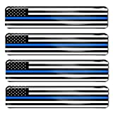 Biomar Labs® 4 x Aufkleber 3D Gel Silikon Stickers USA Amerika Thin Blue Line Flag America Dünne Blaue Linie Polizei Flagge Fahne Autoaufkleber F 59