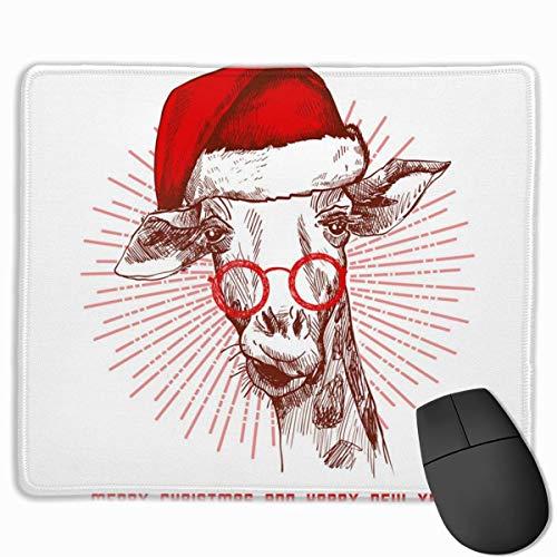 Die Weihnachtsmütze und Brille Giraffe Personalisierte rutschfeste Mauspad mit genähten Kanten 25X30 cm Mauspad Mausmatte