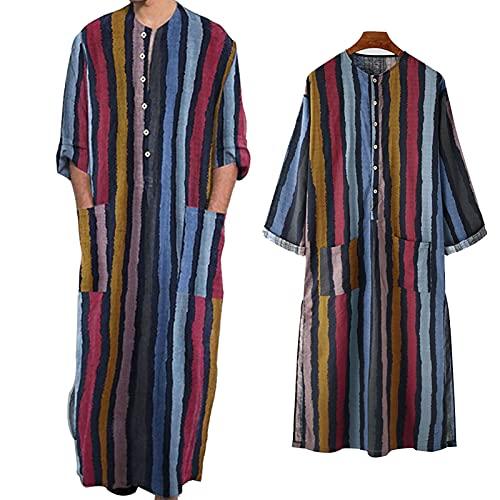 ZZAL Schlafkleid männer Eid Casual Nachthemden Gestreifte Muslimische Roben für Männer Atmungsaktiver Langarm-Pyjama-Bademantel, 2er-Pack(Size:XXL,Color:Style1)