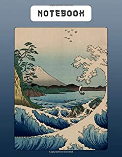 Notebook: Japanese Writing Practice Large Note Book - Wide Lined Paper PLUS Genkouyoushi Paper For Kanji Characters & Kana Script - Sea Waves With Mount Fuji Scene