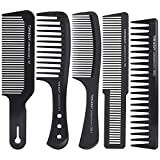 5 Pcs Wide Tooth Detangling Hair Comb, Black Carbon Anti Static Heat Resistant Hair Styling Comb Set for Long Wet Hair Curly Hair