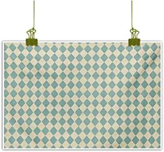 Homrkey Wall Art Decor Poster Painting Rhombus Pattern with Retro Design Inspirations Vintage Argyle Arrangement Teal and Beige Decorative Painted Sofa Background Wall 35