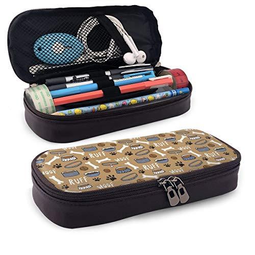 BYTHDA Federmäppchen für Hundefutter, Leder, für Make-up, Stifte, Schreibtischzubehör, Organizer, Stifthalter mit Reißverschluss, Mikrofaser-PU-Leder, Schwarz, Einheitsgröße