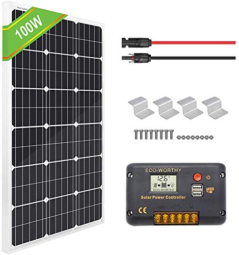 ECO-WORTHY Panneau solaire monocristallin 100W + Contrôleur de charge PWM à écran LCD 20A + Câbles solaires 16ft + Supports de montage Z pour kit de système solaire hors réseau RV Boat Yacht