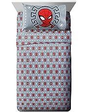 طقم ملاءات مزدوج من 3 قطع من Jay Franco Marvel Spiderman Webbed Wonder - سرير أطفال فائق النعومة ومريح - ملاءات من الألياف الدقيقة من البوليستر المقاوم للبهتان (منتج مارفل الرسمي)