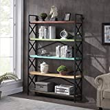 HOMYSHOPY Industrial 5-Tier Solid Wood Bookshelf, Open Wide Bookcase with Metal Frame and Multicolor Shelves, 47 Inch Freestanding Etagere Bookshelf for Home & Office