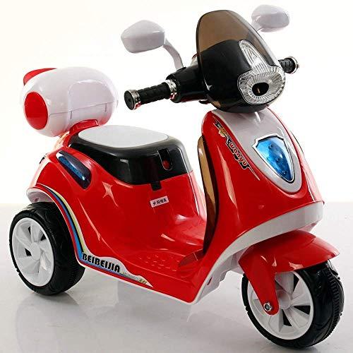 CJH Elegante Impresionante Nuevo Truco Eléctrico Infantil Moto para Niños Motocicleta Scooter Eléctrico Bicicleta Triciclo Motocicleta Puede Sentarse Recargable Niño Niña Triciclo Eléctrico Moto, Ros