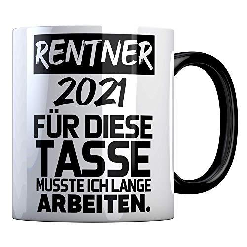 Tassenbude Tasse für den Ruhestand Rentner 2021 Tasse mit Spruch perfekt für die Verabschiedung Pension Und Rente beidseitig bedruckt und spülmaschinenfest schwarz