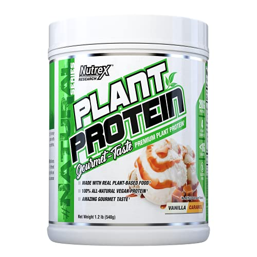 Nutrex Research Plant Protein   Great Tasting Vegan Plant Based Protein Powder   No Artificial Flavors, Colors, or Sweeteners, Gluten Free, Lactose Free   18 Servings (Vanilla Caramel)