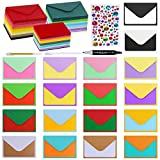 180 Sets #56 Mini Envelopes Coin Envelopes Pocket Envelopes 3 x 4 1/2 with Blank Flat Business Cards 18 Colors Small Gift Notecards Quick Thank You Note Lunchbox Note for Wedding Party Shower Greeting