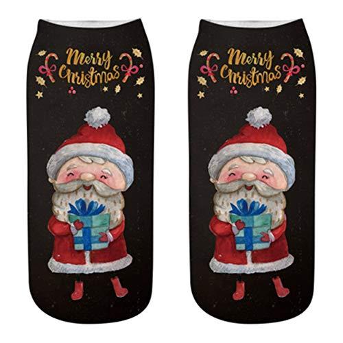 Color Yun Weihnachtsstrümpfe Plüsch 3D Rentier Weihnachtsmann Schneemann Schneeflocke Socken 1231