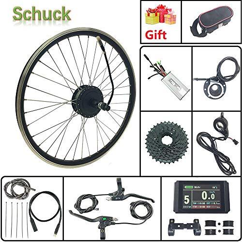 Schuck E-Bike Umbausatz 36V 500W 26-Zoll-Hinterradantrieb Elektro-Fahrradnabenmotor mit bürstenlosem Getriebemotor und KT LCD8H-Display
