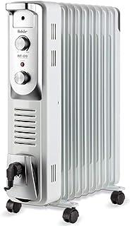 Fakir RF-09 Turbo Plus - Radiador de Aceite (9 Aletas, calefacción eléctrica con 4 Niveles de Calor, termostato, 4 Ruedas, 2400 W), Color Gris