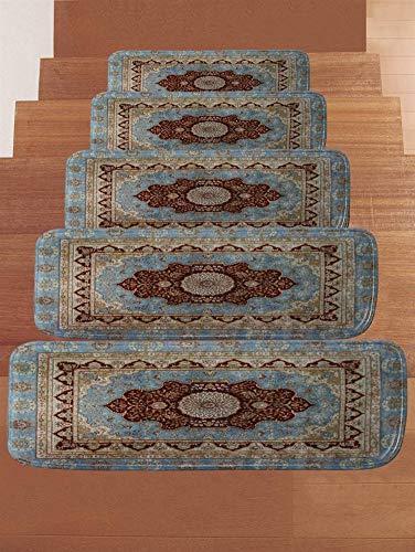 Ommda Stufenmatten Hochflor Innen Rechteckig Set Selbstklebend 15 Stück Treppenstufen Matten Anti Rutsch Waschbar Treppenschutz Style-0459,22x70cm