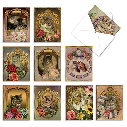 10 �Feline Frames' Thank You Notes, Vintage Kitten and Flower Portraits Thank You Cards 4 x 5.12 inch, Victorian Kitty Cat Gratitude Greeting Cards with Envelopes, Cards for Cat Lovers M6638TYG