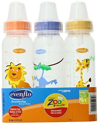 Evenflo Zoo Friends 3 Count Standard Nipple Bottle, 8 Ounce (Colors May Vary) New Hampshire
