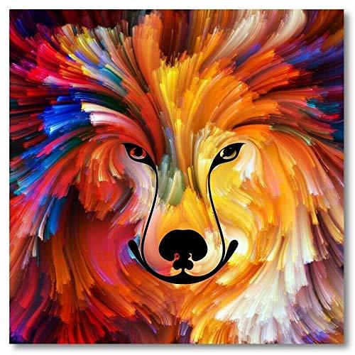 YB canvasfoto dier muurkunst leeuw paard en bonte vos poster muurkunst 30cm x 30cm geen lijst