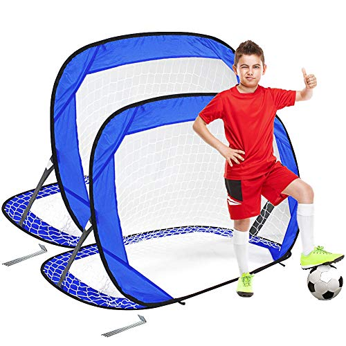SANBLOGAN Porta da calcio per bambini, pop-up, pieghevole, porta da calcio, piccola palla da calcio, giocattolo interattivo per bambini adulti, ideale per giardino, spiaggia, facile da montare