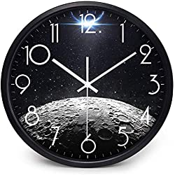 XIGUAN Black Wall Clock Star-Shaped Wall Clock Mute Living Room Bedroom Simple Quartz Clock 14 Inch Wear-Resistant Clear (Color : A, Size : 12 inches)