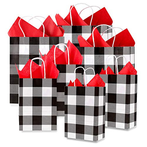 Whaline 24 Pack Christmas Paper Bags with 24 Sheets 14' x 14' Red Tissue Paper, Gift Wrapping Set for Wedding, Birthday Party, Gift Giving (White and Black Plaid)