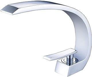 Wovier Chrome Waterfall Bathroom Sink Faucet,Single Handle Single Hole Vessel Lavatory Faucet,Basin Mixer Tap