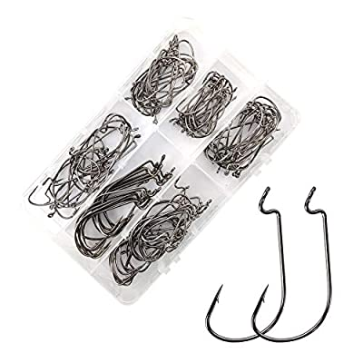 Eupheng EP-37177 Worm Hook Ultimate Point Wide Gap Chemical Sharpening M (Marine) Black Nickle Plated Fishing Hook 2#-5/0# 100PCS Great Value Pack (#3/0 100PCS, Black Nickel)