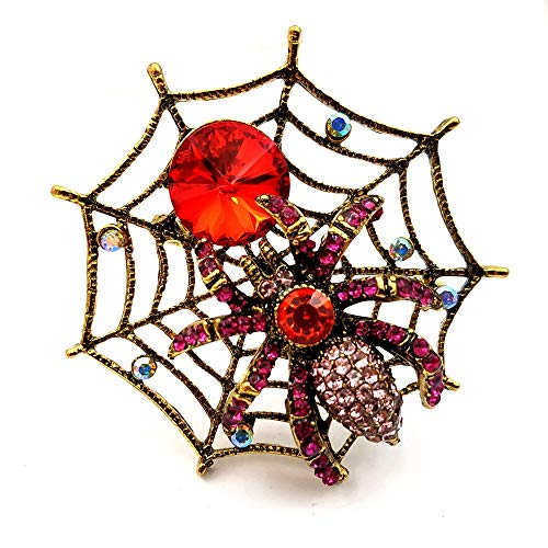 DREAMLANDSALES Vintage Style Gold Tone Red Crystal Spider Web Brooch Halloween Pin Costume Jewelry
