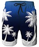 Hawaiian Swim Trunks Blue Tropical Palm Coconut Tree Men Beach Blue Guy Board Shorts Holiday Party Summer Pool Tropical Bathing Suits