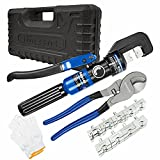 AMZCNC Hydraulic Crimping Tool and Cable Cutter Hydraulic Cable Lug Crimper 8 US TON 12 AWG to 00 (2/0) Electrical Terminal Cable Wire Tool Kit with 9 Die