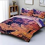 Juego de funda nórdica, Gran Cañón en Arizona con elevaciones de base, paisaje tribal sublime de América del Norte, juego de cama decorativo de 3 piezas con 2 fundas de almohada, marrón, el mejor rega