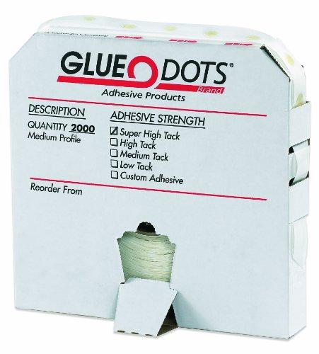 Glue Dots Medium Profile Super High Tack Glue Dot, 1/2' Diameter x 1/32' Thick, Case of 2000 (GD115)